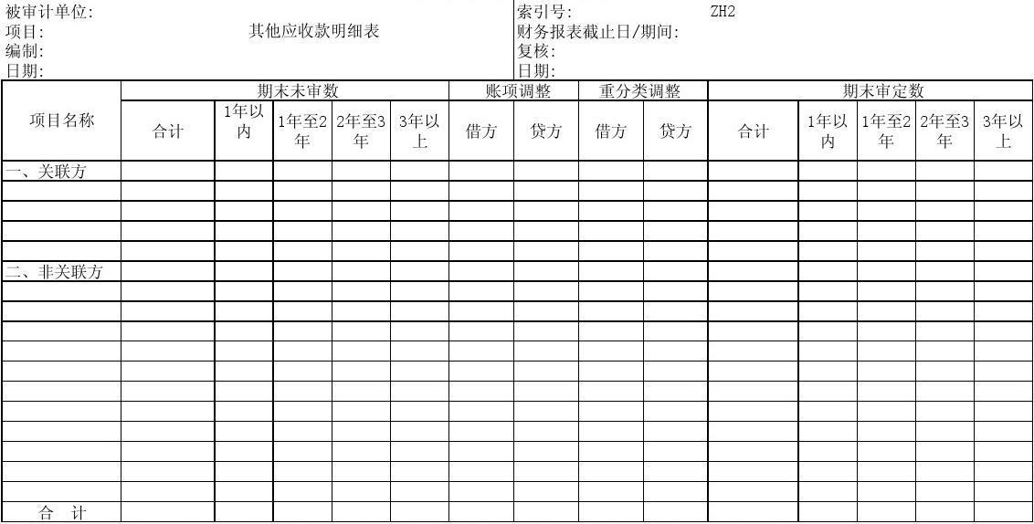 (ZH2)508-2其他应收款明细表