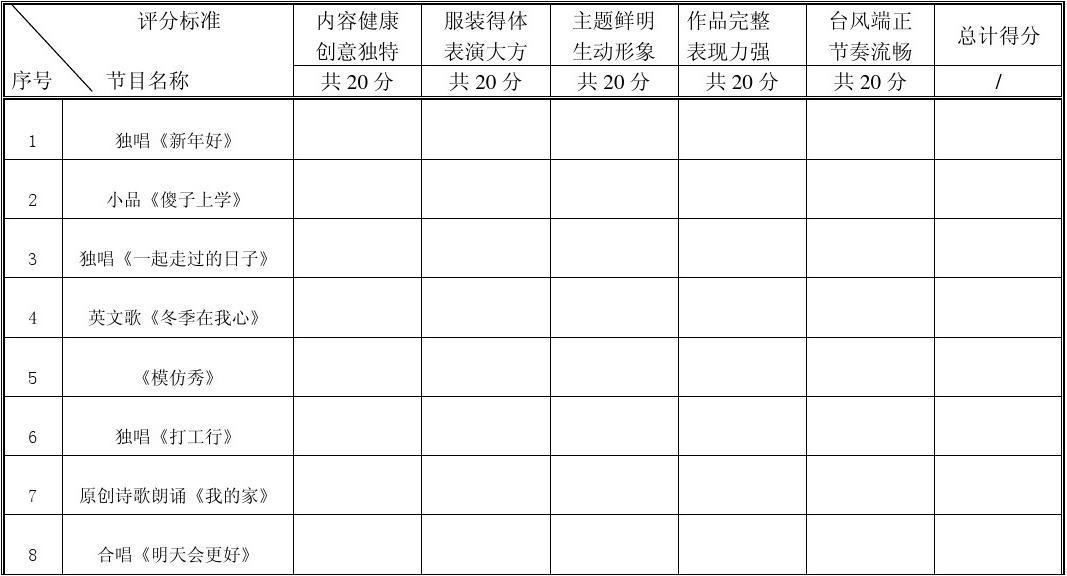 员工年会表演_节目评分表_word文档在线阅读与下载_免费文档