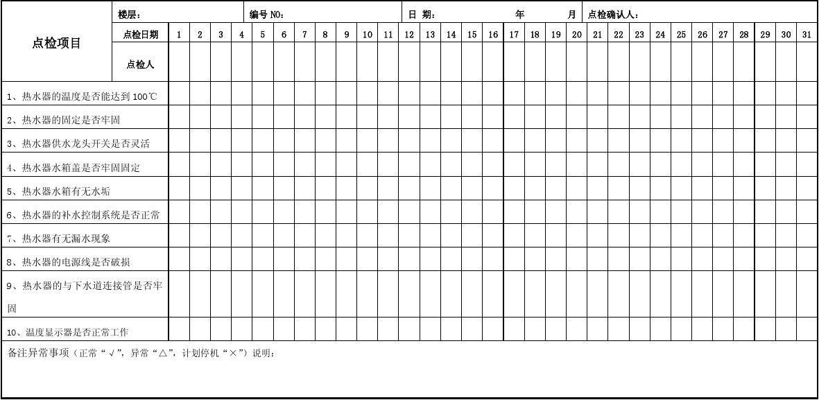 热水器日常点检记录表
