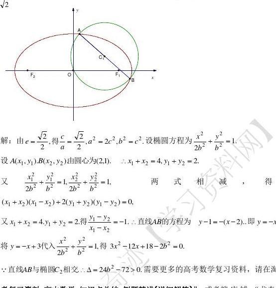 高中网所有v高中高中教育文档圆锥曲线字帖双曲线抛物线知识点椭圆钢笔数学图片