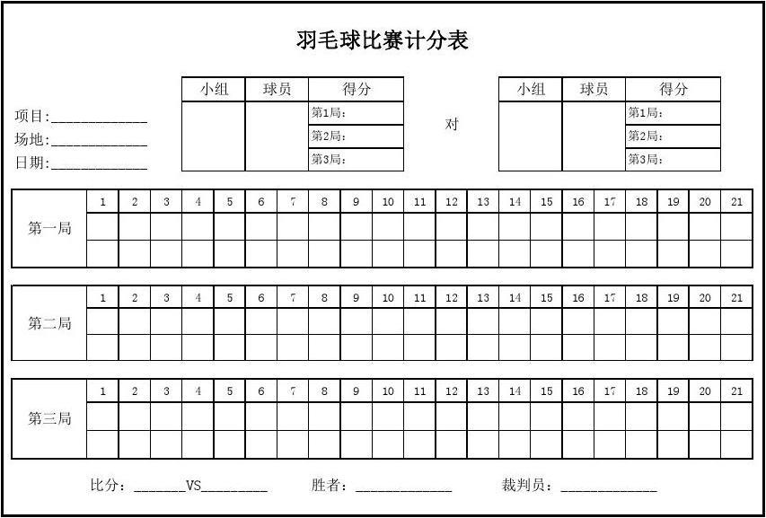 羽毛球比赛计分表(完美版+比赛规则)