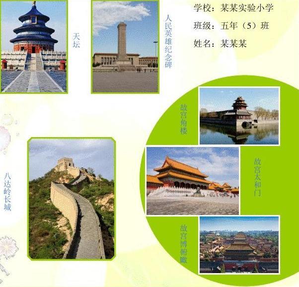 游览北京风光555a4旅游电子小报成品,游记电脑手抄报模板,旅行导游