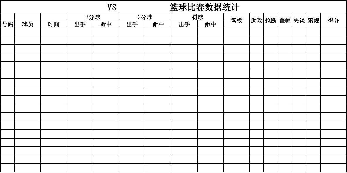 篮球比赛数据统计表