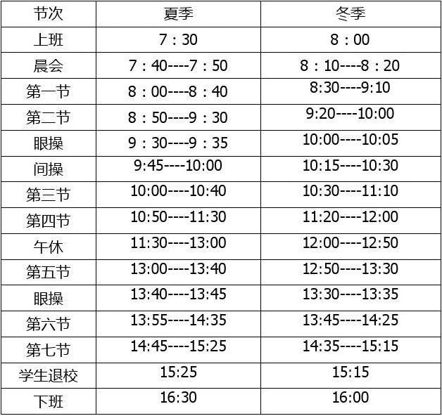 2015英语课程表,时间表