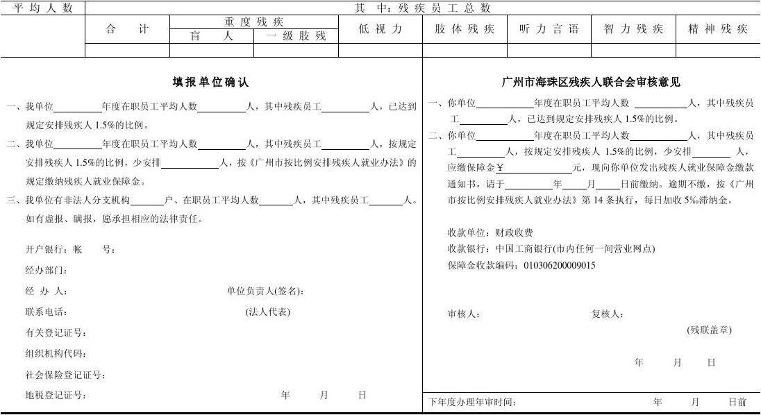 广州市按比例安排残疾人就业年审表