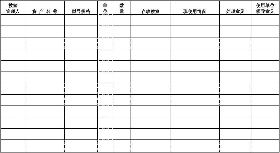 报废物品申请表图片