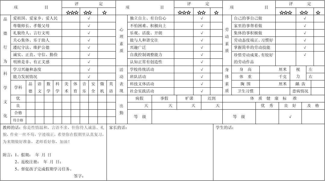 XX县小学生小学报告单_word素质在线阅读与广元821文档图片