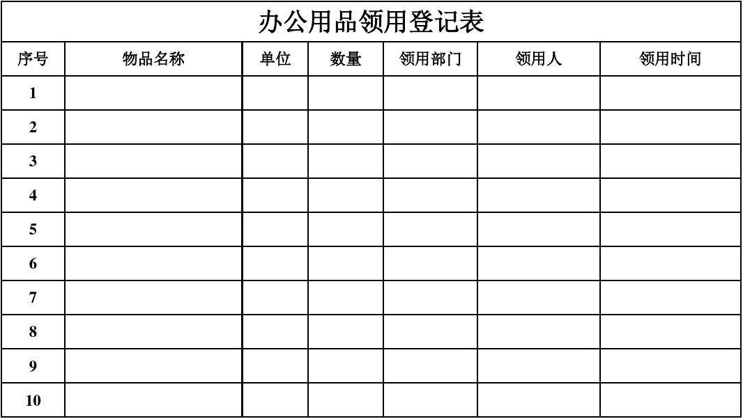 办公用品领用登记表 序号                      物品名称 单位 数量