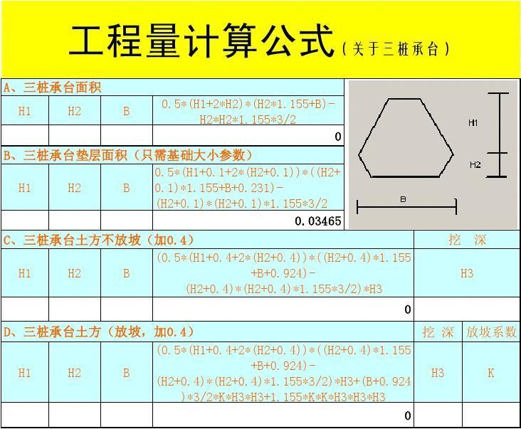 三桩承台的工程量计算公式