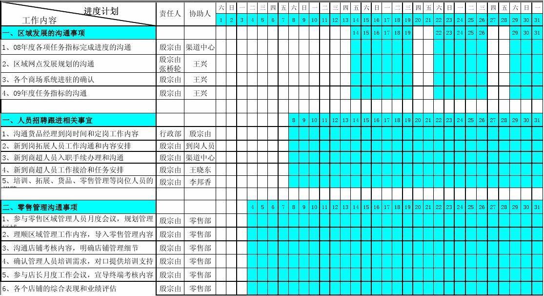 bg-qd-xz01部门月度工作计划表