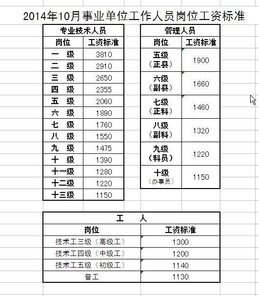 事业单位人员工资表_事业单位工作人员岗位工资薪级工资标准对照表