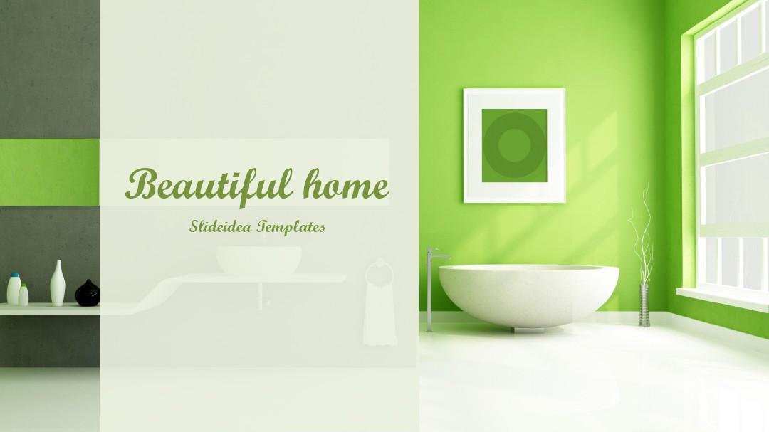 溫馨綠色家居風格PPT模板