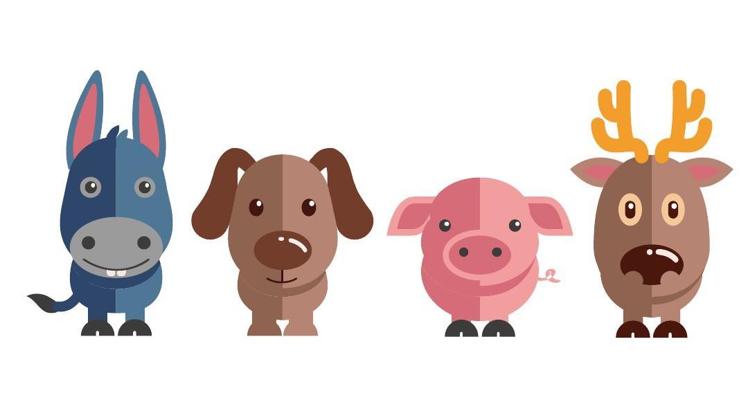 精美扁平化可爱小动物-剪影图片ppt素材