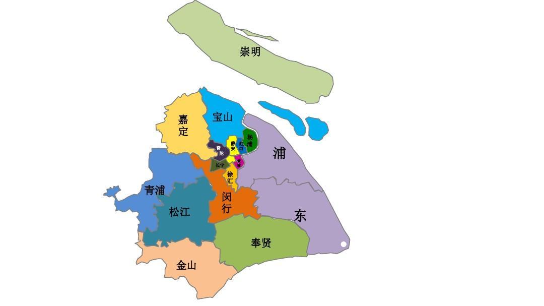 上海地图-可分块填色PPT