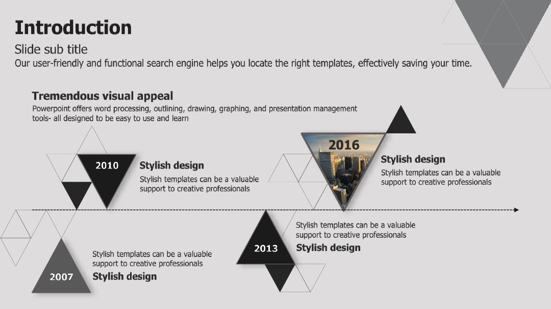 创意三角形排版建筑施工ppt模板图片