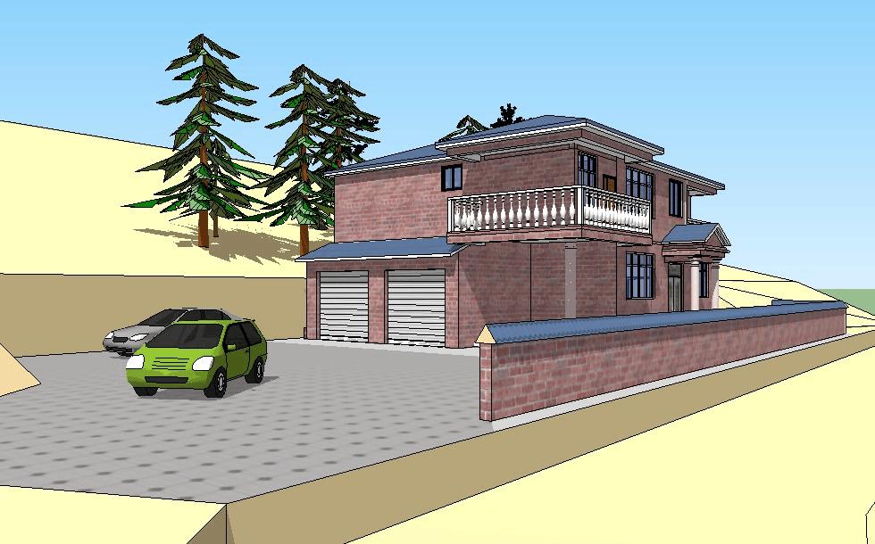 6x12.4两层坡地农村楼盘设计图施工图建筑图效果图成都别墅别墅价格走势房产图片