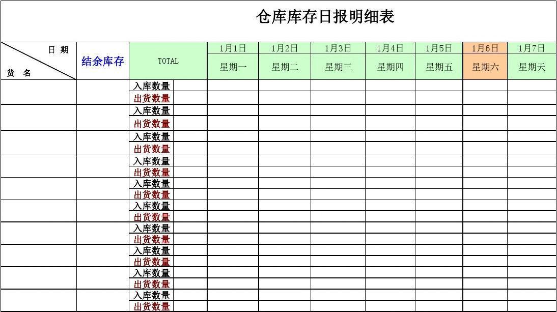 所有分类 总结/汇报 实习总结 仓库库存日报表1  仓库库存日报明细表图片