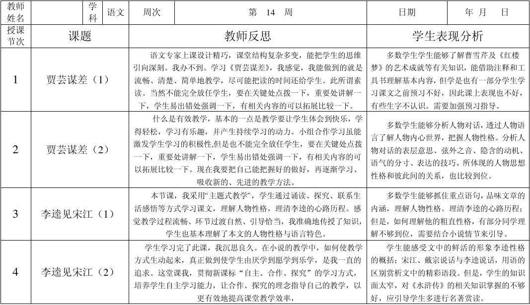 姜屯中学科任教师教学反思表