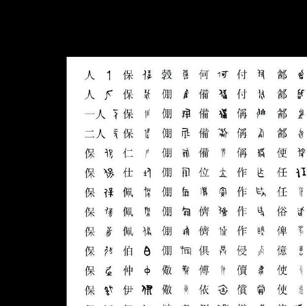 甲骨文金文籀文小篆隶书草书楷书行书字体对照表图片