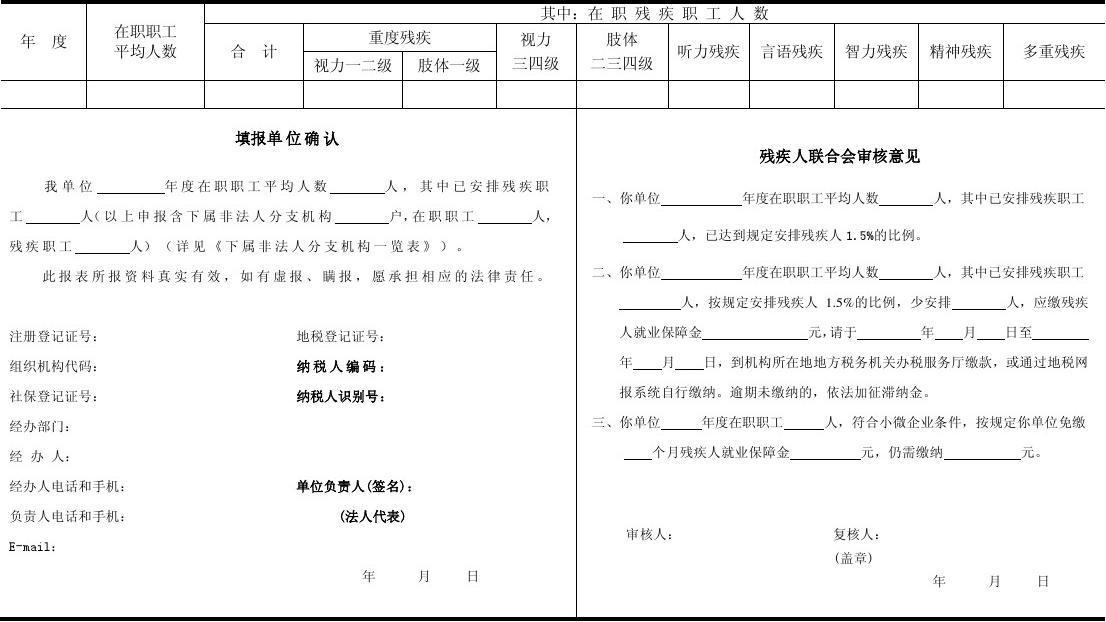 2015年广州按比例安排残疾人就业年审表残疾人年审表