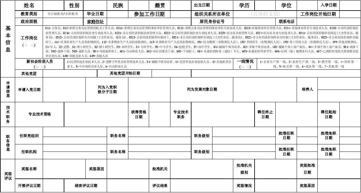 申请入党人信息采集表