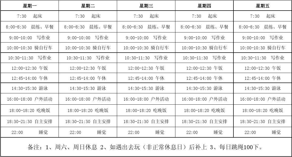 小学生暑假作息时间表小学天津市排名图片