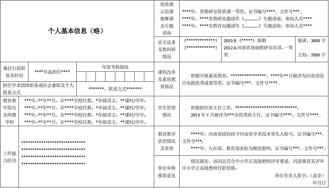 河南省中小学教师专业技术职务任职资格评审简表(填写样本