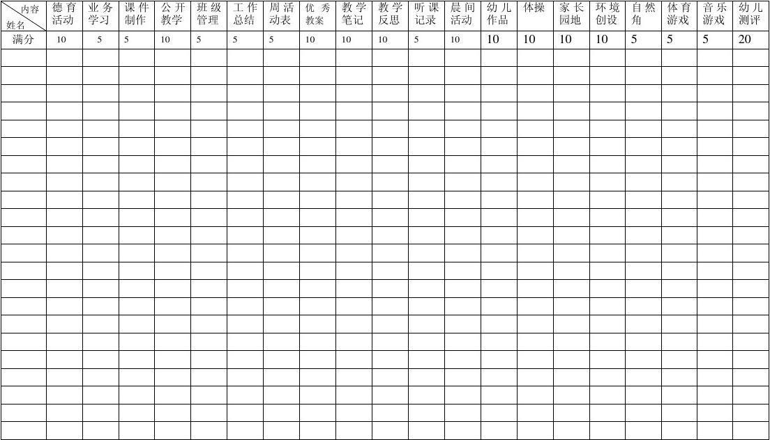 幼儿园检查记录表2011新