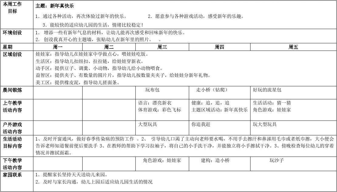 秦山镇中心幼儿园每周教学计划表(第1周)