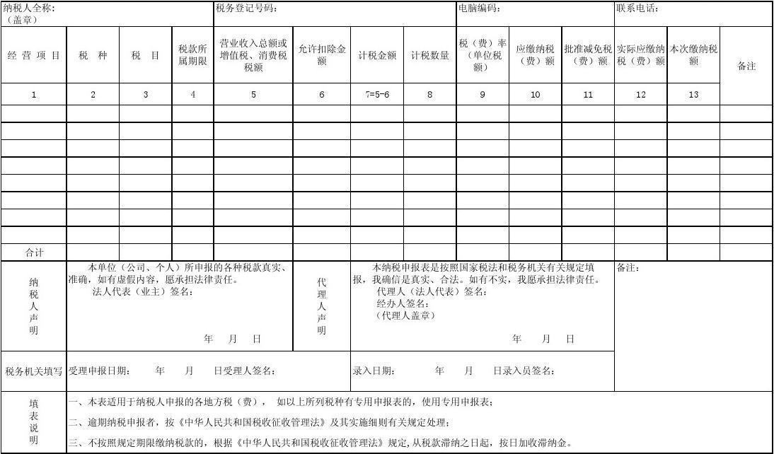 1综合申报表-A4 EXCEL版