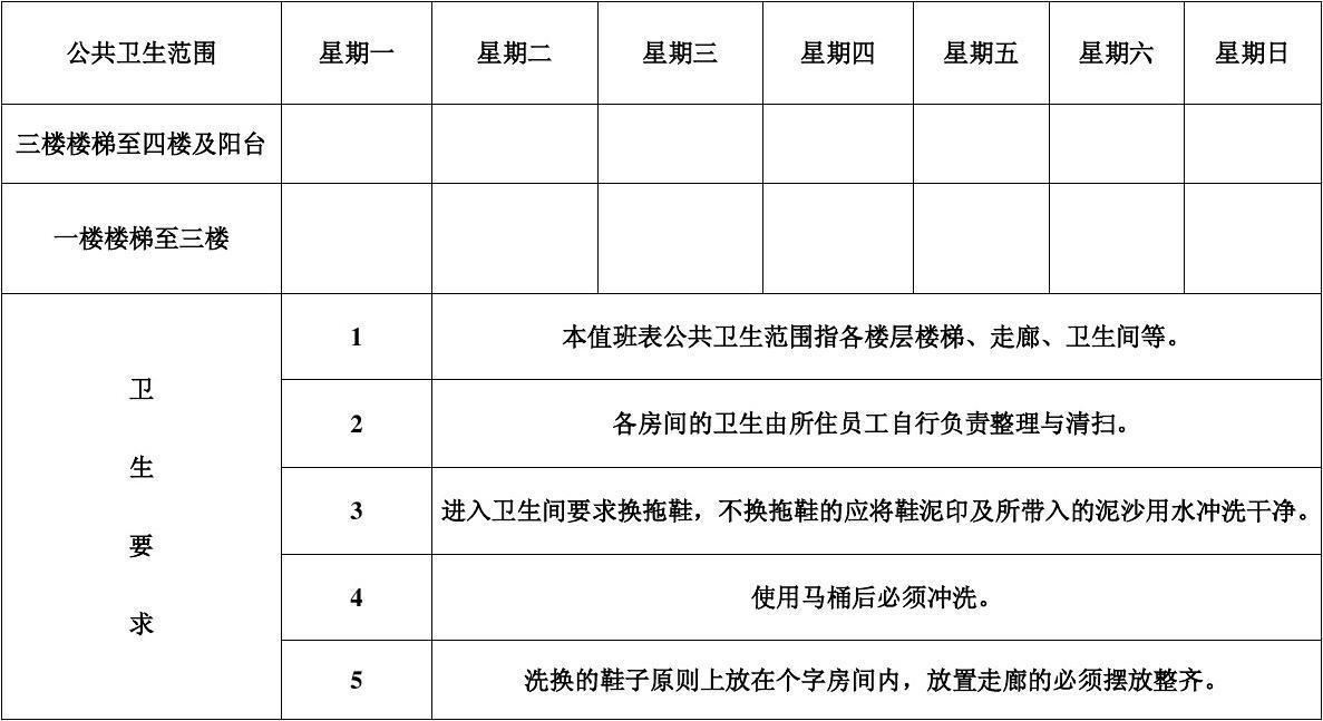 初中班级日志模板_宿舍公共卫生轮流值日表_文档下载