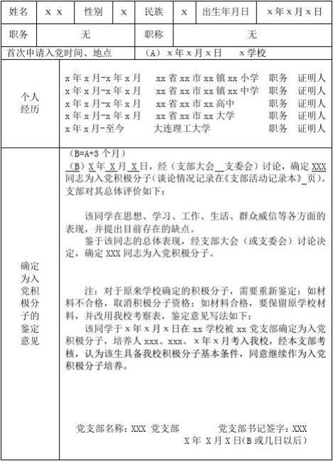 填写模板(积极分子考察表&入党志愿书&预备党员考察表