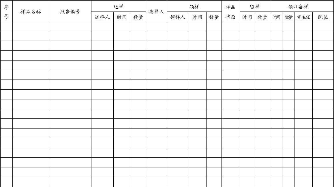 质检系统样品交接记录表