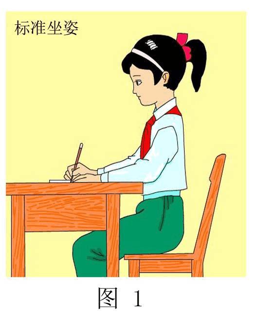初中教育 語文 初一語文 書寫姿勢  一,正確的寫字姿勢   1,坐姿.圖片