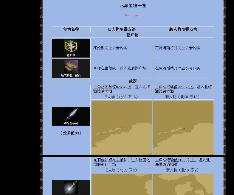 【大航海时代4】全宝物~地图截图~坐标~条件~详解