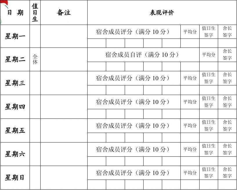 宿舍值日表_大学宿舍卫生值日表 ()6人间_word文档在线阅读与下载_无忧文档