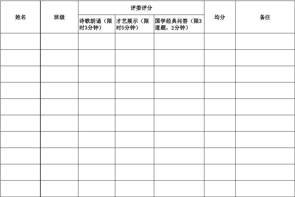 阿弓中心校学生才艺大赛评分表图片