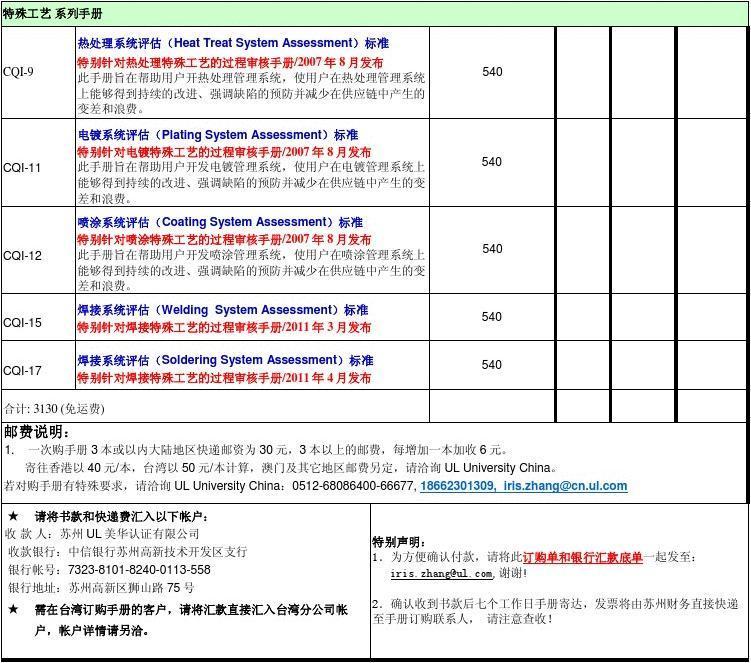 五大工具订购单APQP PPAP MSA SPC FMEA