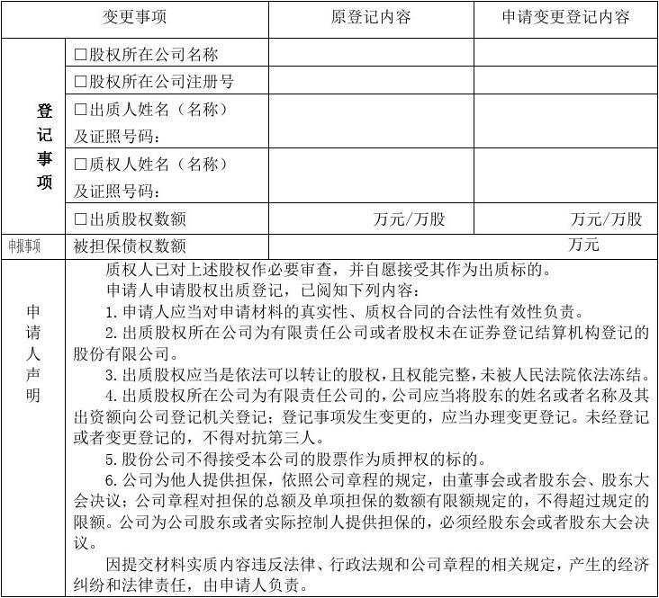 股权出质变更登记申请书 - 海口市工商行政管理局