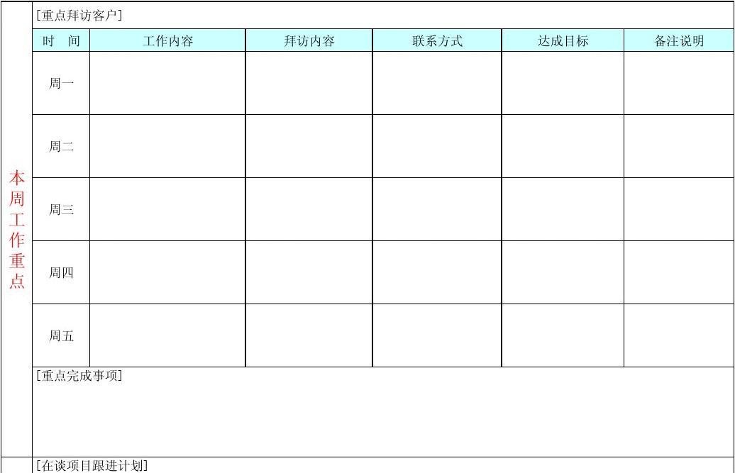 个人工作周计划表_销售周计划工作表_word文档在线阅读与下载_无忧文档