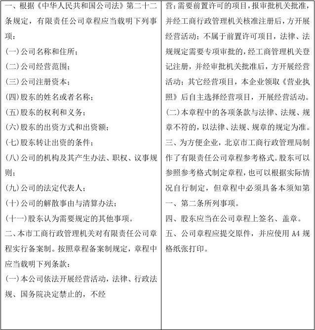 【有限责任公司章程格式文本】
