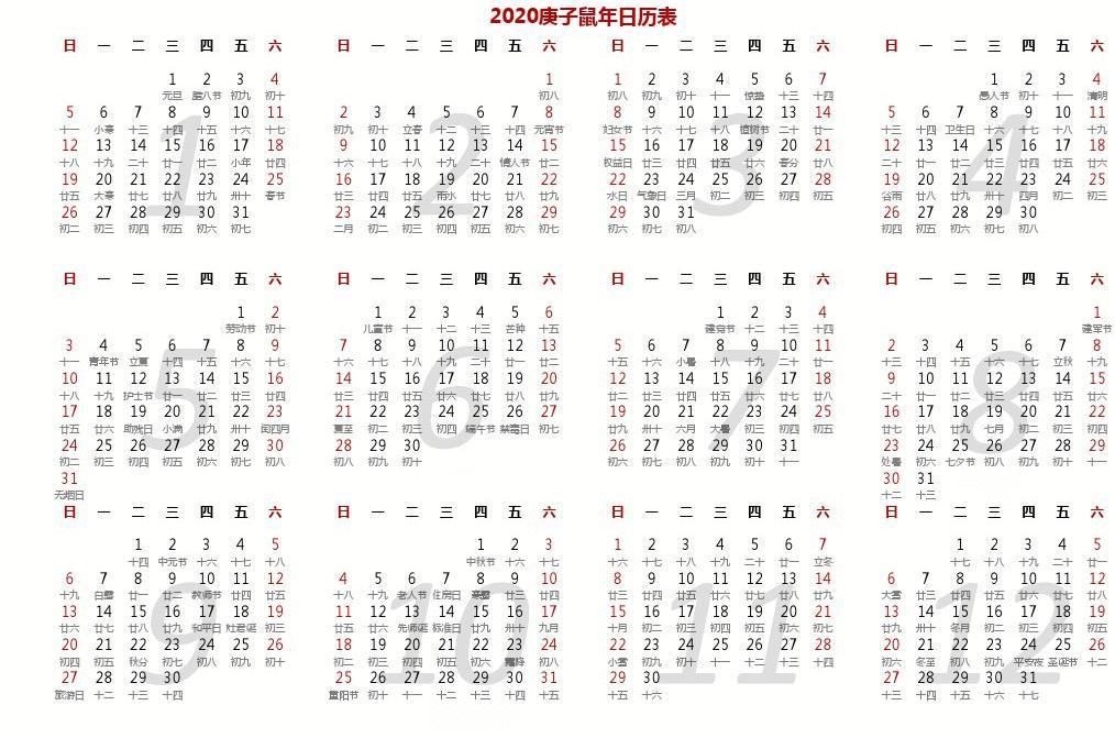 2019年2020年2018年全年日历表带农历(a4一页可编辑可