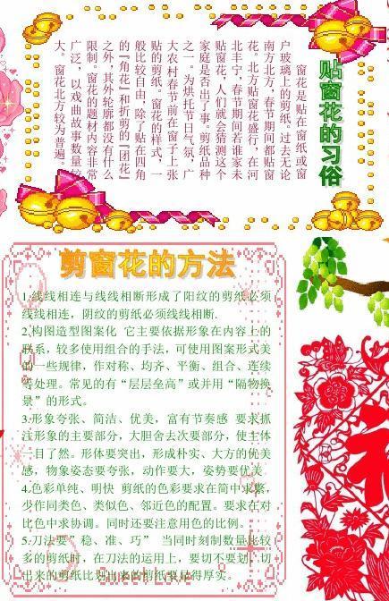 新年民俗剪窗花928a4新年春节电子小报成品,欢度春节手抄报模板,新年图片