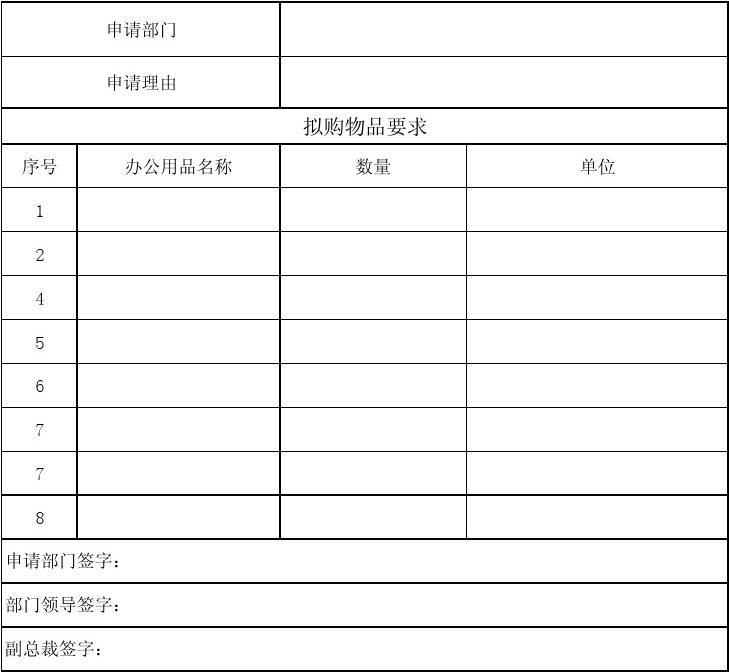 办公用品购置申请表图片