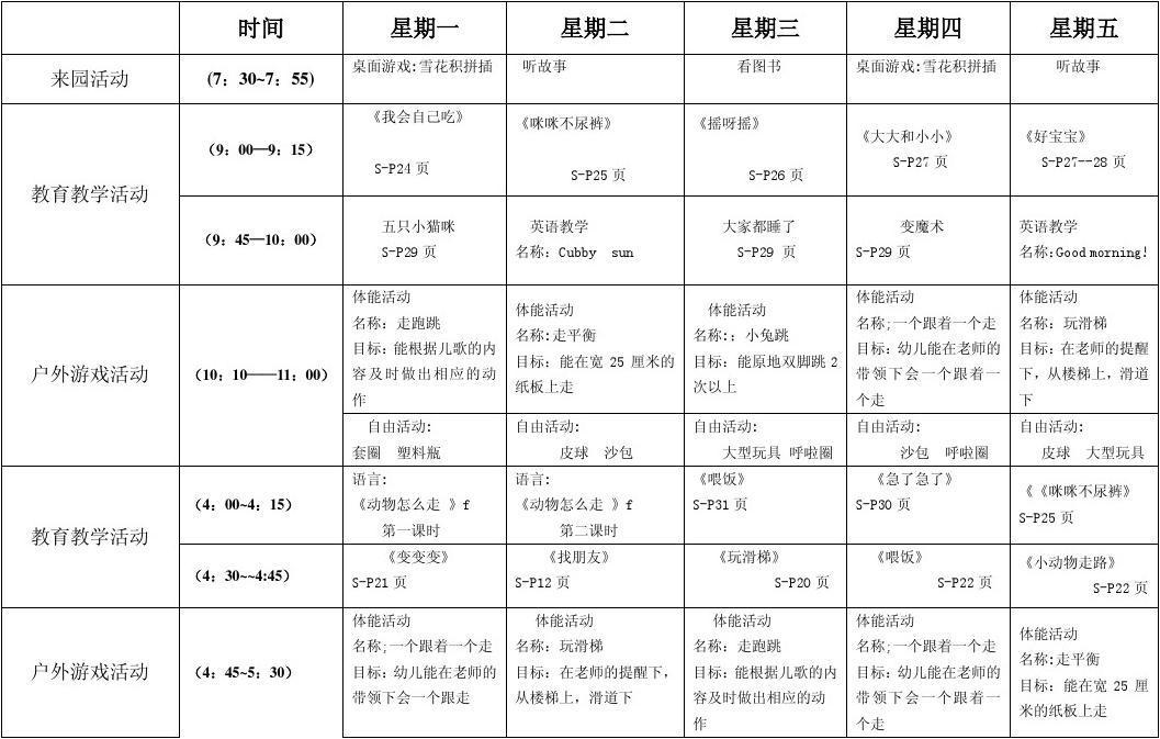 2011年9月第二周周计划表