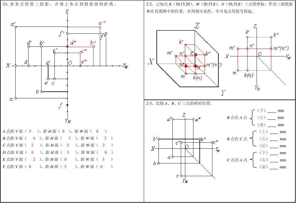 工程制图第二章习题答案