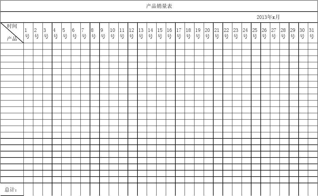 产品销量月统计表