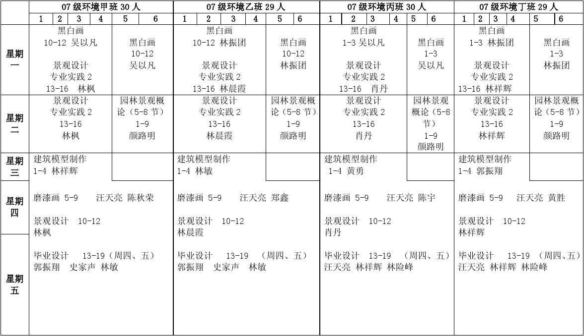 课程表系版本2010-2011(一)图片