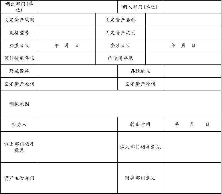 固定资产管理表格