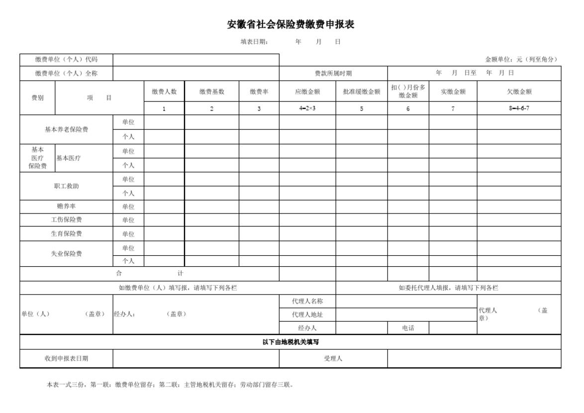 安徽省社会保险费缴费征缴申报表(公式样表)_